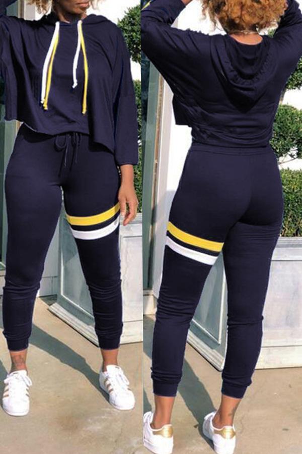 Lovely Casual Sportswear Patchwork Deep Blue Blending Two-piece Pants Set