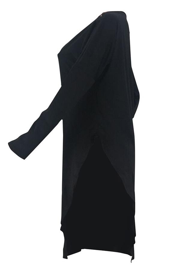 Lovely Casual Asymmetrical Black Blending T-shirt