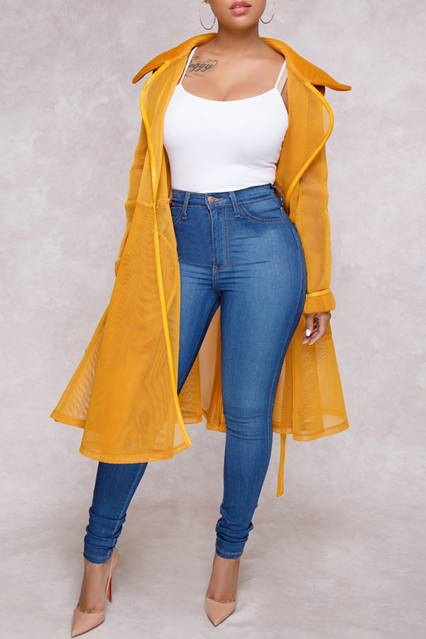 Lovely Vogue See-through Long Yellow Trench Coats