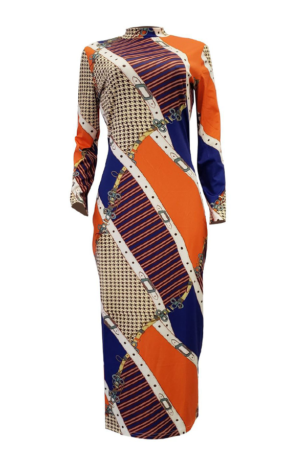 Lovely Euramerican  Contrast Color Multicolor Twilled Satin  Mid Calf Dress