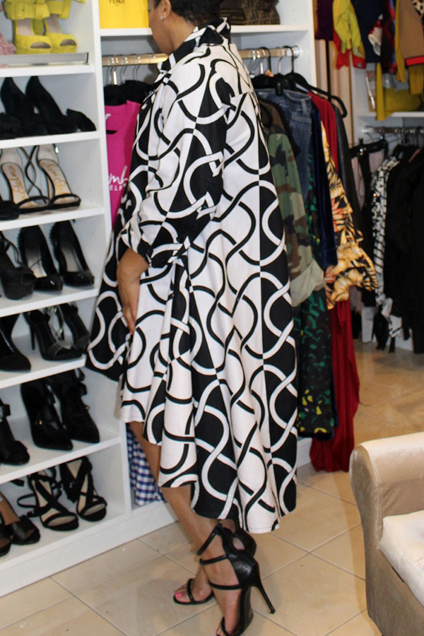 Lovely Casual Printed Patchwork Black Mid Calf Dress