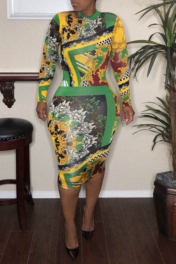 Lovely  Fashion Printed Slim Green Twilled Satin Knee Length Dress