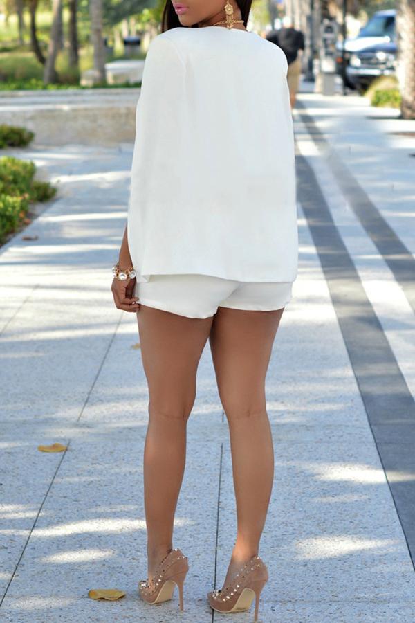 Lovely Temperament Cape Design White Blazer