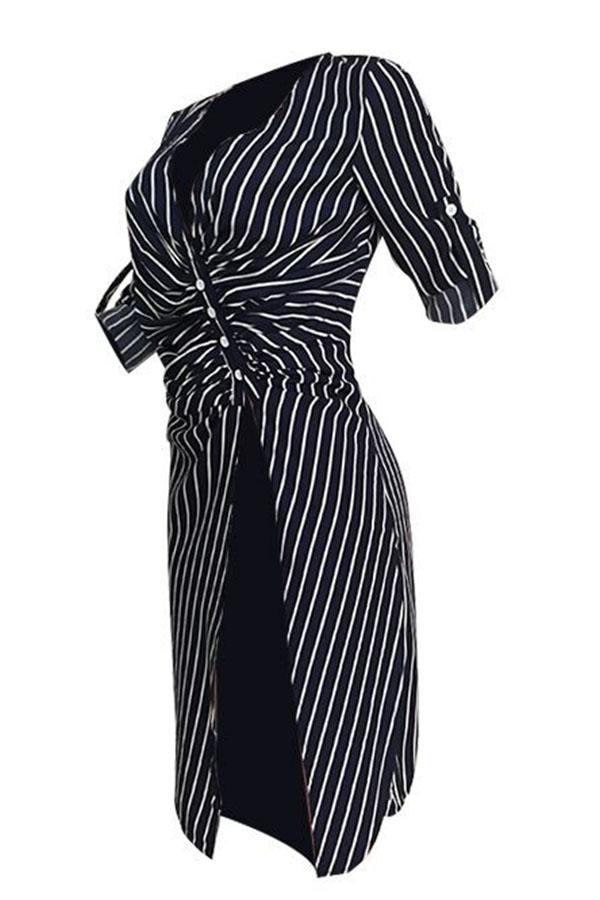 Lovely Casual Striped Dark Blue Mid Calf Dress