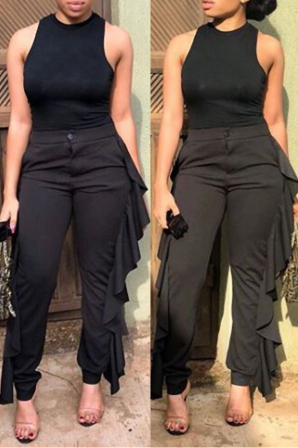 Lovely Casual Flounce Design Black Twilled Satin Pants