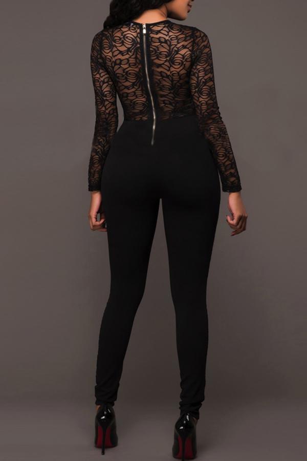 Lovely Trendy Patchwork Black Lace One-piece Jumpsuit ...