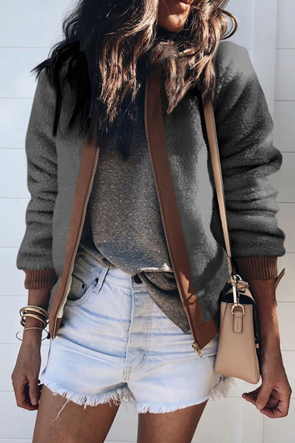 Lovely Casual Long Sleeves Patchwork Grey Coat
