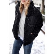 Lovely Casual Long Sleeves Patchwork Black Jacket
