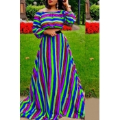 Lovely Casual Striped Show Hilum Blue Two-piece Skirt Set