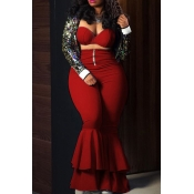 Lovely Vogue Layered Flared Legs Red Twilled Satin Two-piece Pants Set(Without Coat)