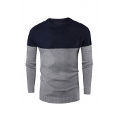 Lovely Casual Patchwork Grey Knitting Sweaters