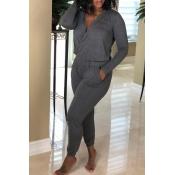Lovely Casual Cross-over Design Grey Knitting One-