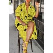 Lovely Fashion Printed Yellow Blending Knee Length Dress
