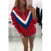 Lovely Euramerican Patchwork Red Cotton Hoodies