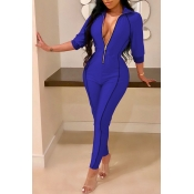 Lovely Casual Zippers Design Skinny Blue Twilled Satin One-piece Jumpsuit