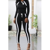 Lovely Sportswear Striped Black Two-piece Pants Set