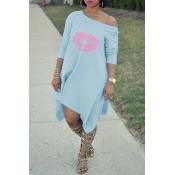Lovely Fashion Asymmetrical Printed Light Blue Blending Mid Calf Dress