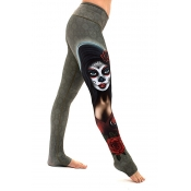 Lovely  Casual Portrait Printed Skinny Grey Cotton Blends Pants