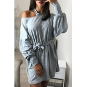 Lovely  Casual Hollowed-out Long Grey Sweats