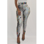 Lovely Euramerican Sequined Decorative Skinny Multicolor PU Pants
