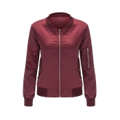 Lovely Casual Long Sleeves Zippers Design Wine Red Jacket
