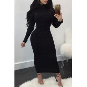 Lovely Sexy Long Sleeves Slim Black Knitting  Ankl