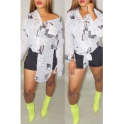 Lovely Casual Newspaper Printed Multicolor Blouses