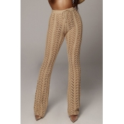 Lovely Casual Hollowed-out Light Camel Knitting Pa