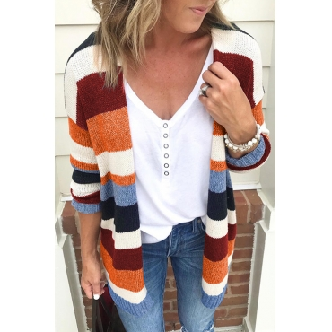 Lovely Casual Striped Long Multicolor Knitting Cardigan Sweaters