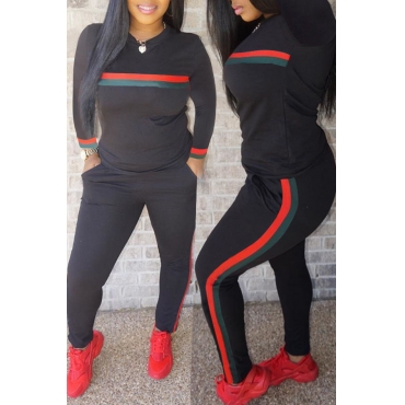 Lovely Casual Striped Black Blending Two-piece Pants Set