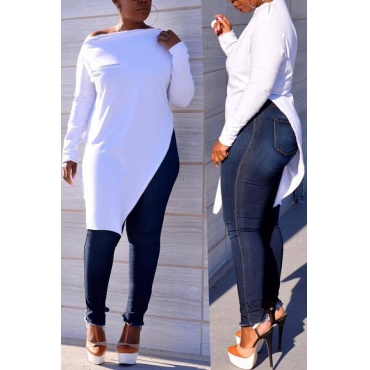 Lovely Casual Asymmetrical White Blending T-shirt