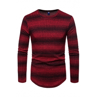 Lovely  Casual Long Sleeves Striped Wine Red Sweaters