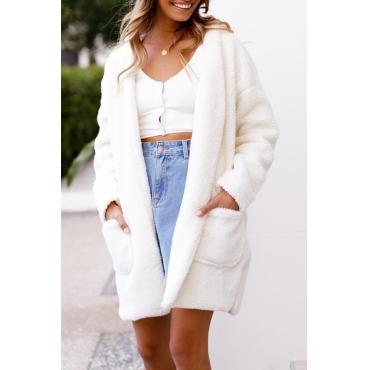 Lovely Euramerican Hooded Collar Long White Faux Fur Cardigan