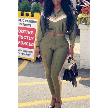 Lovely Euramerican Patchwork Army Green Twilled Satin Two-piece Pants Set