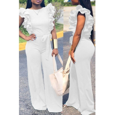 Lovely  Casual Lace-up Flounce Design White One-piece Jumpsuit