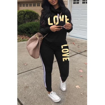 Lovely Sportswear Letters Printed Black  Twilled Satin Two-piece Pants Set