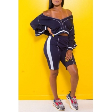 Lovely  Casual Striped Blue Twilled Satin Two-piece Shorts Set