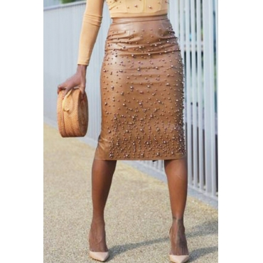 Lovely Vogue Nail Bead Design Slim Bown PU Knee Length Skirts