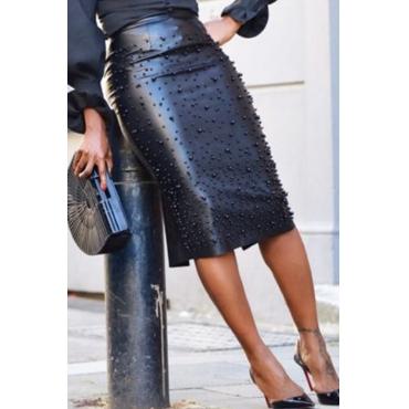 Lovely Vogue Nail Bead Design Slim Black PU Knee Length Skirts