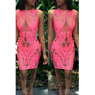 Lovely Euramerican Tank Sleeveless Sequined Decorative Pink  Mini Dress