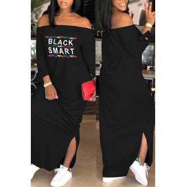 Lovely Euramerican Dew Shoulder Letters Printed Black Ankle Length Dress