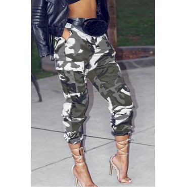 Lovely Casual Camouflage Printed White Cotton Blends Pants (Without Belt)