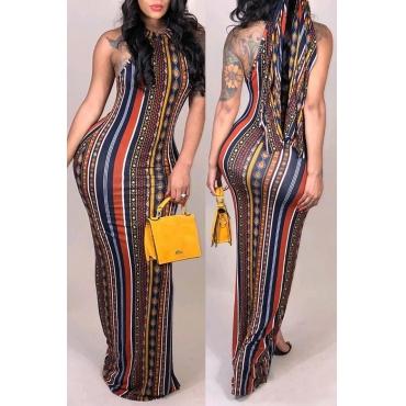 Lovely Bohemian Printed Slim Multicolor Floor Length Dress