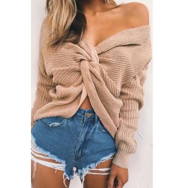 Lovely   Euramerican Cross-over Design Powder Gray Sweaters