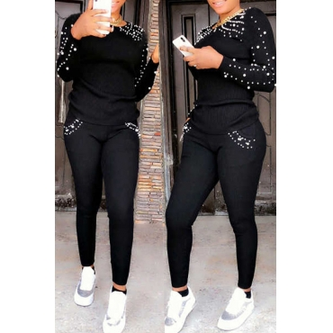 Lovely Casual Nail Bead Design Black Blending Two-piece Pants Set