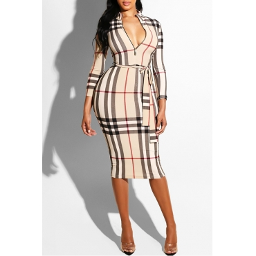Lovely  Euramerican  Grids Printed Lace-up Khaki Blending Knee Length Dress