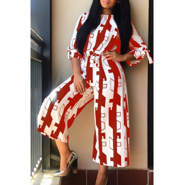 Lovely Leisure Printed Loose Red Blending One-piece Jumpsuit