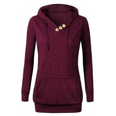 Lovely  Casual Drawstring Buttons Decorative Wine Red Hoodies