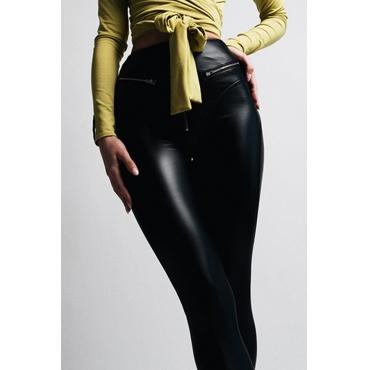 Lovely Trendy Zippers Design Skinny Black PU Pants