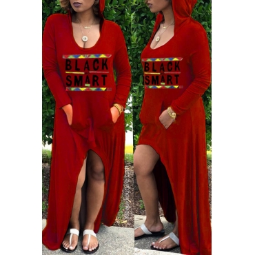 Lovely Euramerican Asymmetrical Letters Printed Wine Red Ankle Length Dress